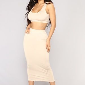 Nude tank and midi skirt set